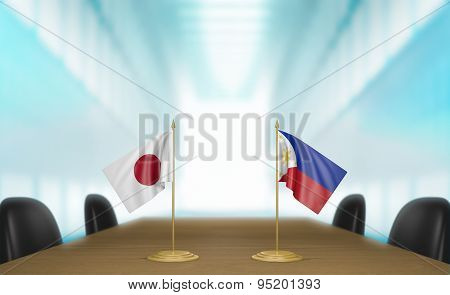 Japan and Philippines relations and trade deal talks 3D rendering