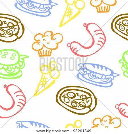 Food. Fast food. Schematic representation.