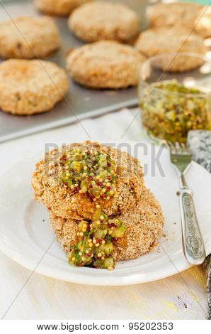 Potato And Pork Patties With Marinated Gherkin Salsa