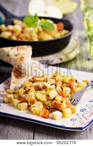 Root vegetable hash with apple