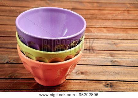Three Colorful Bowl On Table