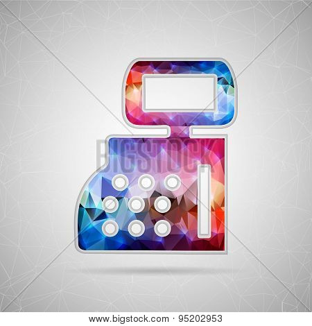 Abstract Creative concept vector icon of cash register for Web and Mobile Applications isolated on b