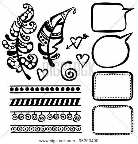Set of decorative elements (ornaments)