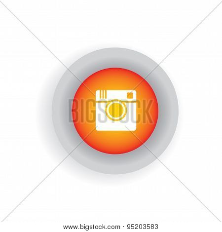 Flat Design Vector Icon Of Camera For Photo Sharing On Internet, Mobile Phones, Social Media Sites -