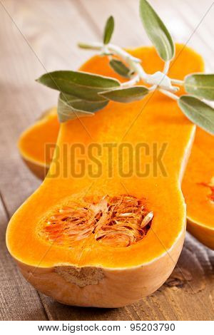 Raw butternut squash halved with sage