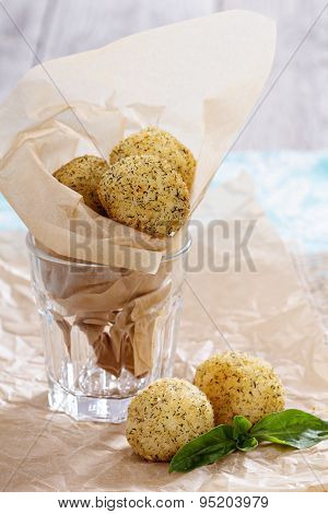 Arancini fried rice balls with herbs