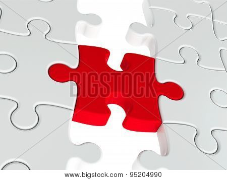 Red Puzzle Connection Closeup