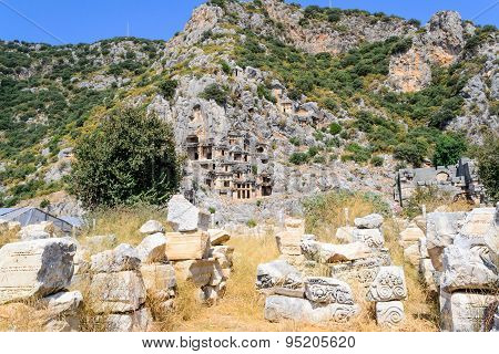 Ancient rock tombs in Turkey