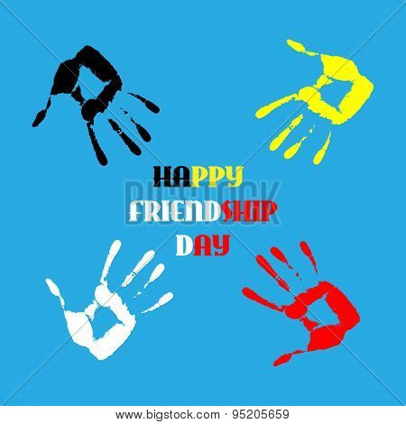 Happy Friendship Day Background With Colorful Watercolor Handprints