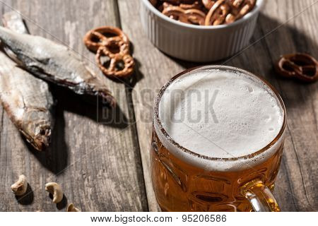 Beer With Dried Fish And Snacks