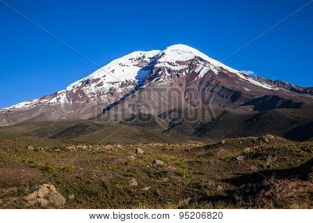 Chimborazo Volcano At Sunset.