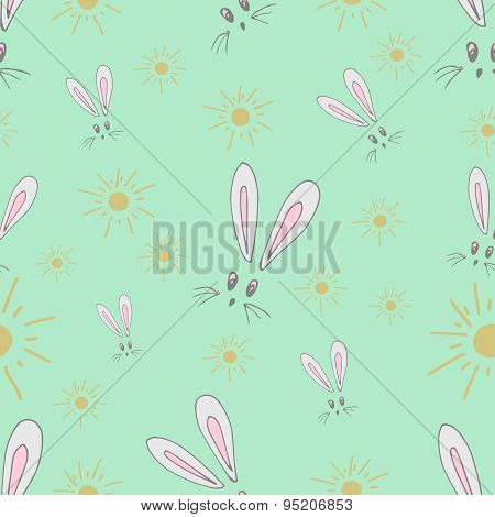 Seamless Pattern Of The Hare And The Sun. Fabric Made Of Children's Drawings