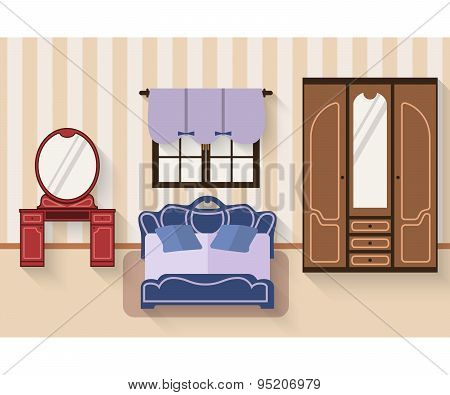 Bedroom with furniture and long shadows. Flat style vector