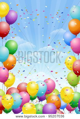 Festival Background With Balloons