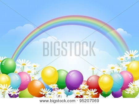 Blue Sky Background With Balloons And Daisy Flowers