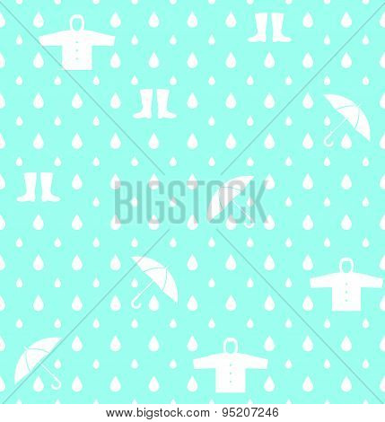Raindrops umbrella and Rainwear pattern vector background