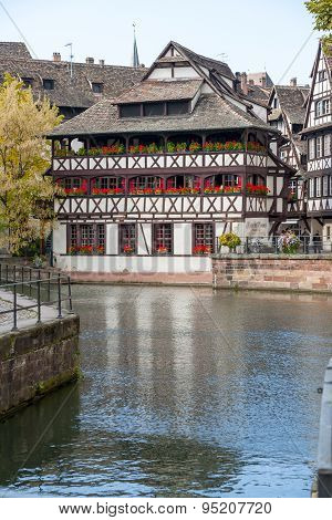 Strasbourg, France - September 26 2008: water canal in Petite area
