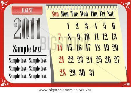 2011 Calendar August Us