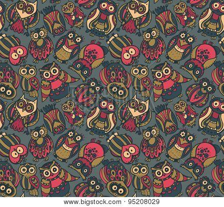 Vector Seamless Pattern With Cute Colorful Owls.