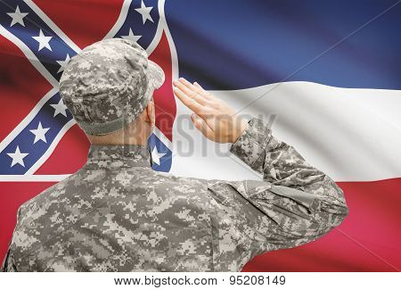 Soldier Saluting To Us State Flag Series - Mississippi