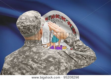Soldier Saluting To Us State Flag Series - Virginia