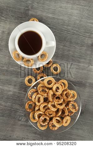 Dried Biscuits And Tea On