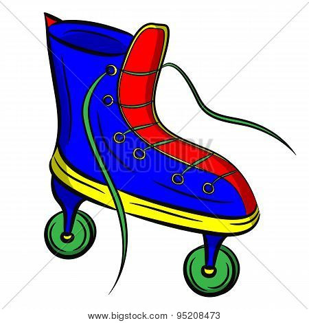 Blue Roller Skates With Untied Lace On White Background