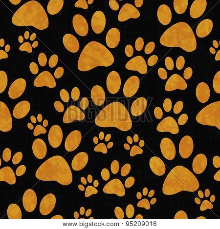 Orange And Black Dog Paw Prints Tile Pattern Repeat Background