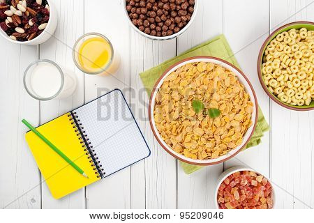 Healthy Breakfast On White Wooden Table