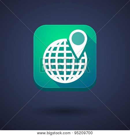 App Button With A World Globe