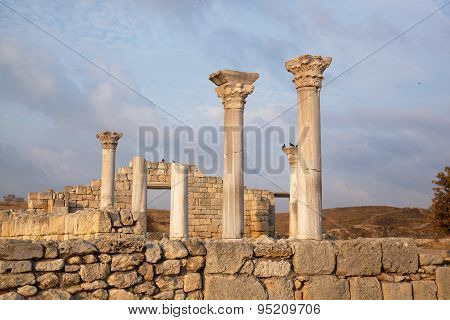 Colonnade Of The Ancient Greek City Of Chersonese, Crimea