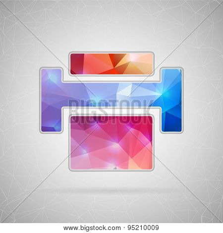 Abstract creative concept vector icon of printer. For web and mobile content isolated on background,
