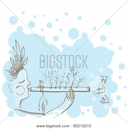 Vector Illustration Of The Man With Native Americans Flute