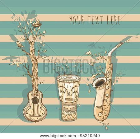 Vector Illustration Of Live Music With Guitar, Saxophone, Djembe Drum.
