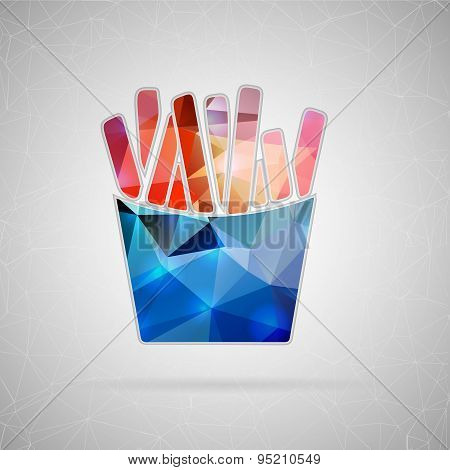 Abstract creative concept vector icon of French fries. For web and mobile content isolated on backgr