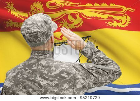 Soldier Saluting To Canadial Province Flag Series - New Brunswick