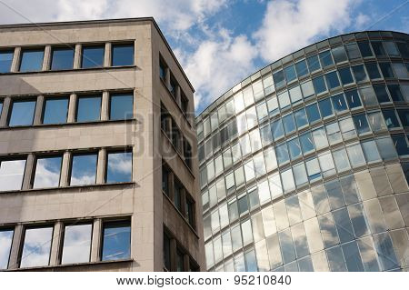 Close-up of glass facades of office building