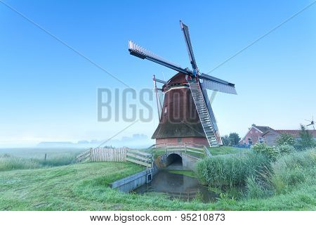 Dutch Windmill In Morning