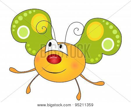 Cute Smiling Yellow Butterfly Character Isolated On White