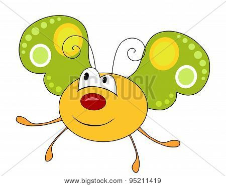 Cute Smiling Yellow Butterfly Isolated On White