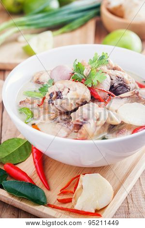 Coconut milk with chicken. Traditional thai soup