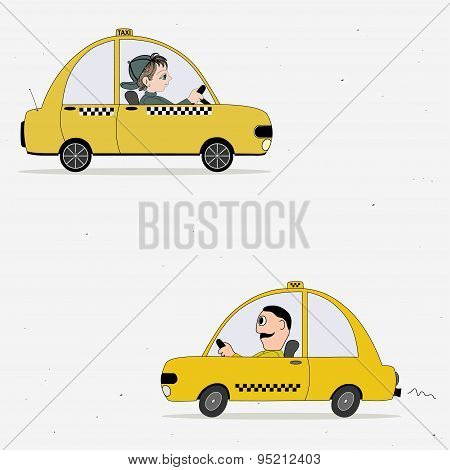 Two Cartoon Yellow Taxi Car And Taxi Driver