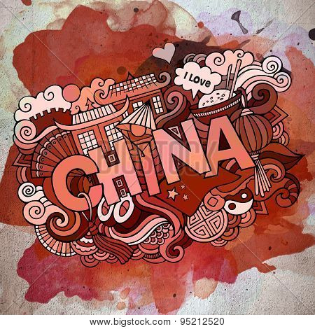 China country hand lettering and doodles elements