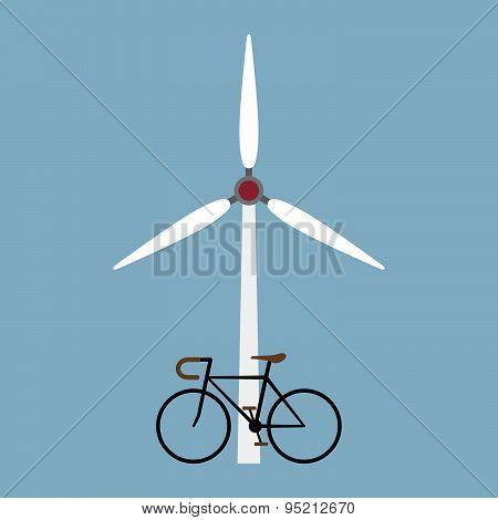 Bicycle With Wind Turbine