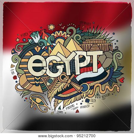 Egypt country hand lettering and doodles elements