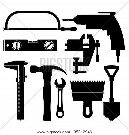 Silhouettes Of Construction Tools