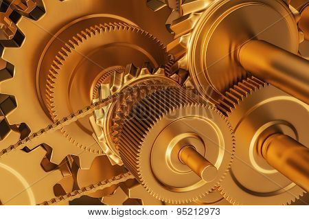 Clock gold gears