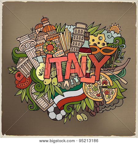 Italy country hand lettering and doodles elements