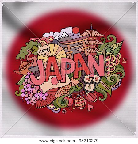 Japan country hand lettering and doodles elements