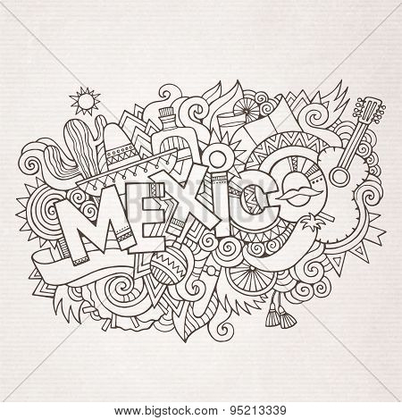 Mexico country hand lettering and doodles elements
